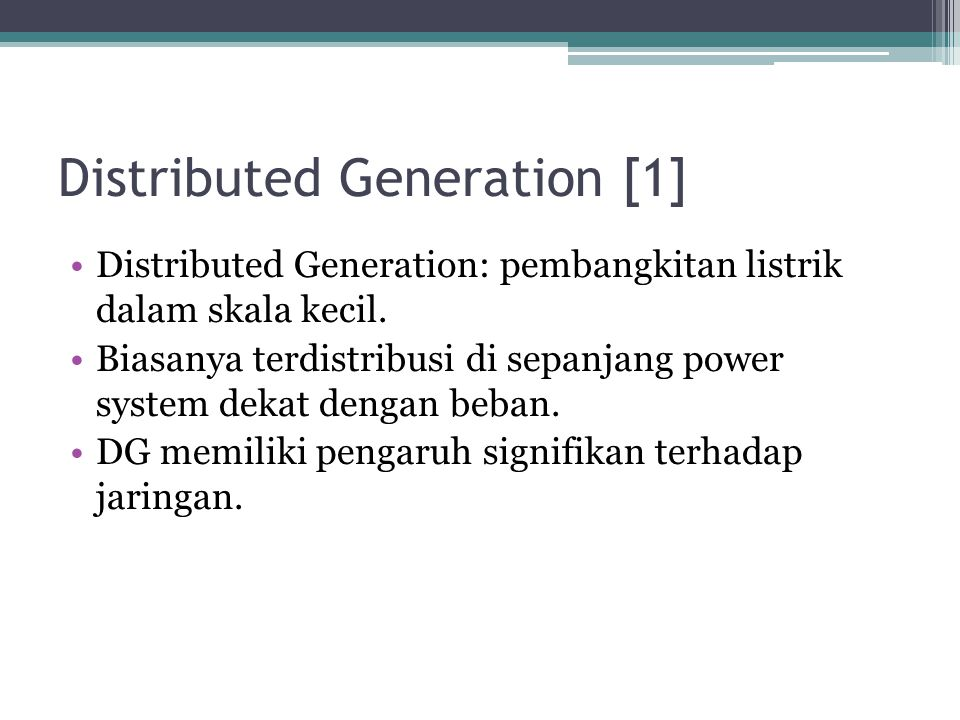 Distributed Generation [1]